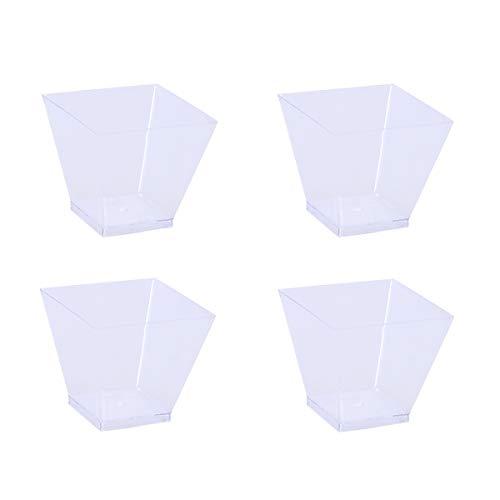 SUPVOX Copas de Postre Desechables Cuadrados Plástico Reutilizable y Duradero Tazas de Postre Vasos de Postre para buffets Martinis y entremeses para Todas Fiesta y Celebraciones 60 ML 50 Piezas