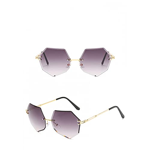 SXRAI Gafas de Sol sin Montura de señora de Moda Gafas de Sol de Marco de aleación para Mujer,C1
