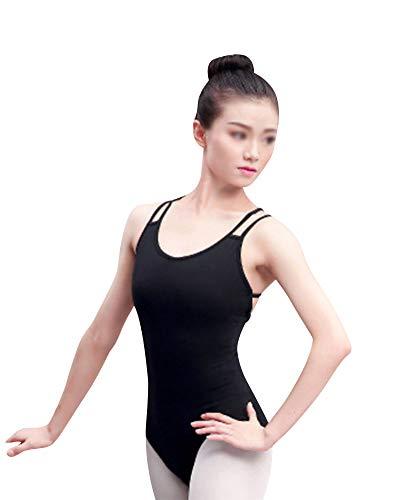 Shaoyao Mujer Maillot De Danza Slim Fit Espalda Abierta Cruzar Correa Doble Gimnasia Ballet Leotardo Ropa De Practica Negro L