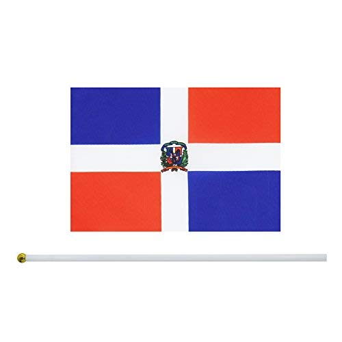 25 Pack Hand Held Small Mini Flag Dominican republic Flag Stick Flag Round Top National Country Flags,Party Decorations Supplies For Parades,World Cup,Festival Events ,International Festival