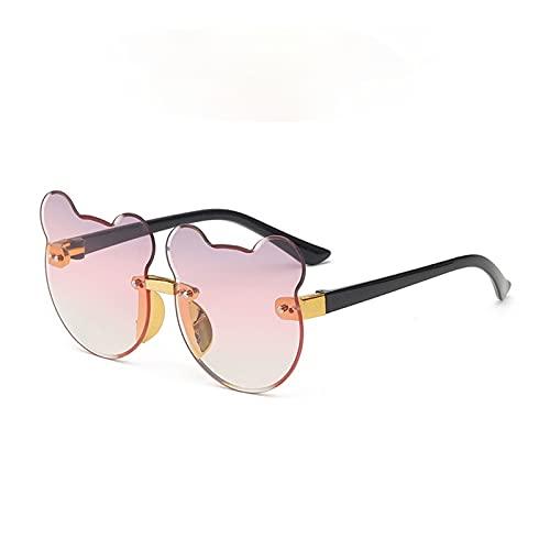 Gafas de Sol 2021 NUEVO Copia de dibujos animados Gafas de sol para niños Piedra Progresivo Ocean Orejas Gato Sin Frontera Tendencia Adelante Exquisita Bisagra ( Lenses Color : E Purple yellow )