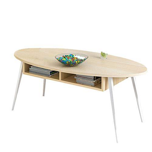 Ronde salontafel, de moderne salontafel met tafelvoet van spaanplaat en een grote opbergruimte.