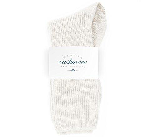 Graham Cashmere - Bettsocken aus reinem Kaschmir, hergestellt in Schottland, in Geschenkbox Gr. One size, Weiß (Soft White)