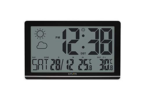 Explore Scientific RDC8001 cm3000 Orologio da Parete Jumbo Radio-Controllato, Sensore Temperature Esterna, Previsioni del Tempo, Nero