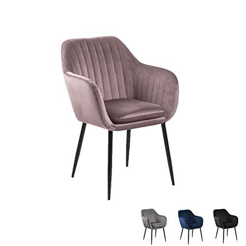 Nimara Sillas de Terciopelo reposabrazos, sillón de diseño escandinavo con reposabrazos, sillas de Comedor Gris, Negro, Azul y Rosa