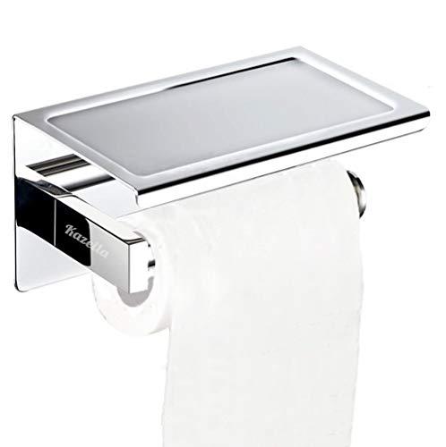 Kazeila Porte-Papier Toilette Mural avec Etagère de Rangement - épaississant 304 Acier Inoxydable avec Auto-adhésif 3M, Porte-Rouleau de Papier WC avec Support de Téléphone pour Salle de Bain