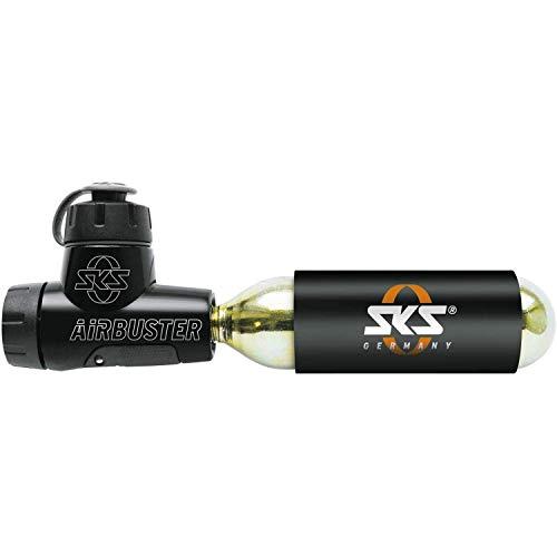 SKS GERMANY AIRBUSTER CO2 Fahrradpumpe für Wettkämpfe (CO2 Luftpumpe, mit Druckdosierventil & Drehdosierer, inkl. Kälteschutz, Staubschutzkappe, 16g-Ersatzkartusche & Pumpenhalter), Schwarz