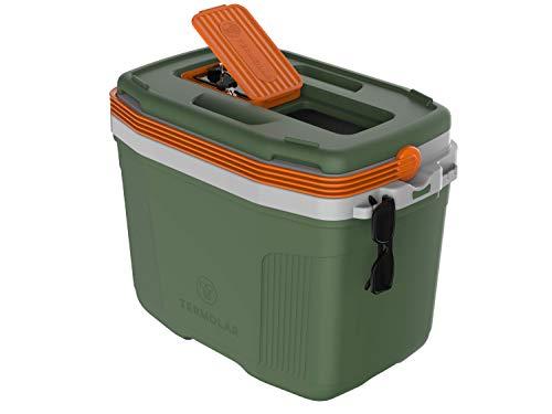 Nevera Portátil Rígida 32L. La más Completa. Acceso Superior. Gancho Gafas y Llaves. Caja Térmica. para Camping Playa Picnic (Verde)