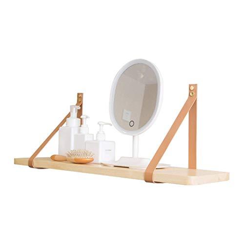 IUYJVR Soporte de Estante montado en la Pared, Soporte de Estante de diseño, para Dormitorio, baño, Sala de Estar, Accesorios de envío de Cocina (2 Cinturones + 1 Tabla de Madera)