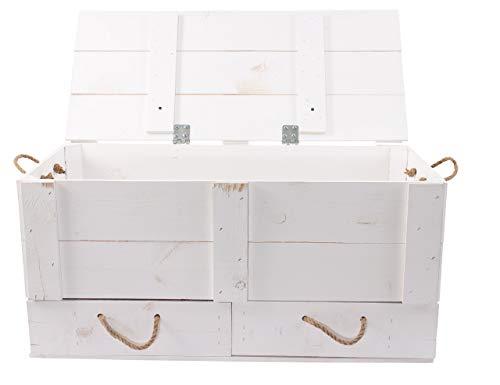 Moooble 1x Truhenbank weiß mit Deckel + 2 Schubladen | 85 x 39 x 40 cm | stabile Holztruhe zum sitzen & verstauen für Flur, Schlaf- u. Wohnraum