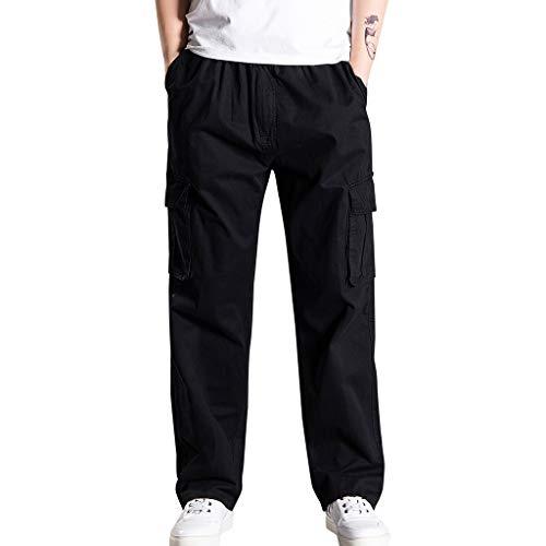 FIRMON-Jeans Herren-Loungehose, lange Hose, lässig, lockere Passform, Outdoor-Sport-Jogginghose, lange Hose Gr. XXXXXL, Schwarze 80er Hose