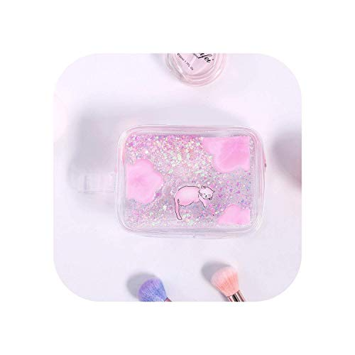 ZWWZ Cosmetic Bag Cartoon-Katze Treibsand-Spielraum-kosmetischer Beutel T-Verfassungs-Fall mit Reißverschluss Geldbörse Handtaschen-Speicher-Beutel-Kultur Wash Bag-blau- HAIKE
