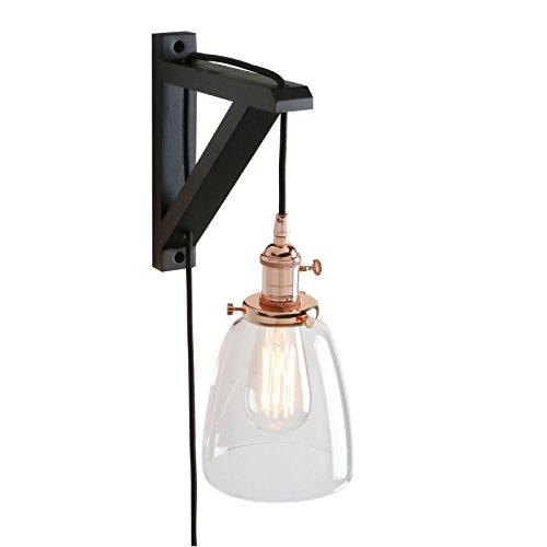 Applique murale industrielle vintage Pathson lampe avec garniture et abat-jour en verre clair, interrupteur et cadre en bois, 4 m de câble en tissu noir