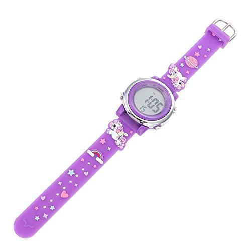 Reloj de Dibujos Animados LED para Niños: Reloj de Dibujos Animados 3D de Color Púrpura Oscuro Resistente Agua Reloj Deportivo para Niños Aire Libre Reloj de Pulsera de Moda