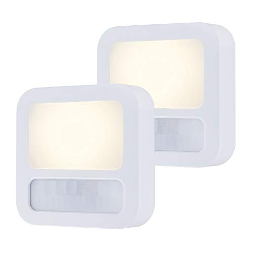 GE LED Night Light, Motion Sensor, Dusk-to-Dawn, 20 Lumens, Plug-in, UL-Certified, Energy Efficient, Ideal for Living Room, Bathroom, Bedroom, Kitchen, Hallway, White, 46439
