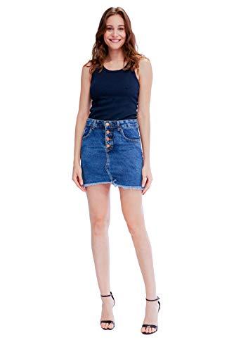 Saia Jeans, Zune Denim, Feminino, Indigo, 36