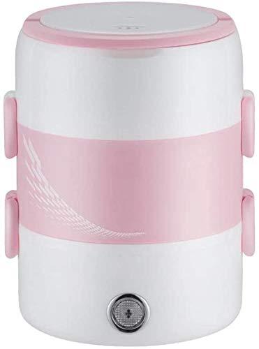 LINANNAN Fiambrera eléctrica, multifuncional portátil, de tres capas, calentador de alimentos, calentador de almuerzo, mini olla de arroz, para niños y adultos, disponible en color rosa
