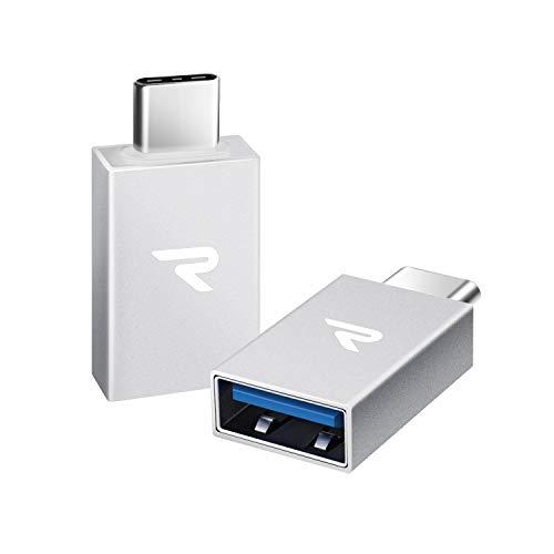 RAMPOW Adattatore USB C a USB 3.1 [ OTG - 2 Pezzi ] Adattatore Tipo-C a USB A, Compatibile perThunderbolt 3, Google Pixel 2/2XL,Nexus 5 X/6P,Samsung S9/S8 - Argento