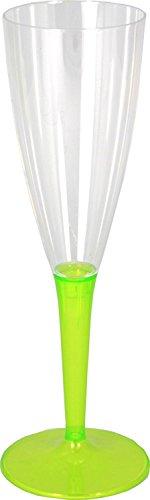 Mozaik Lot de 6 flûtes à champagne en plastique vert anis (100 ml)
