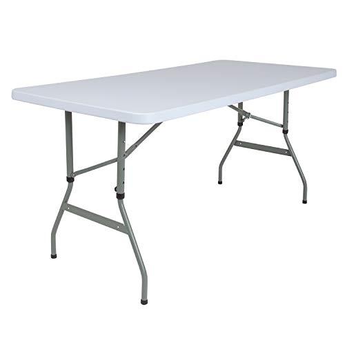 Flash Furniture 4.93-Foot Height Adjustable Granite White Plastic Folding Table