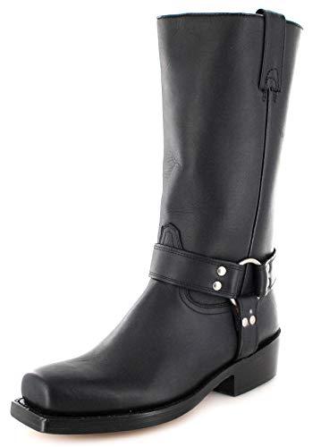 Buffalo Boots Unsex Biker Boots 1801 Black Bikerstiefel Lederstiefel Schwarz 38 EU