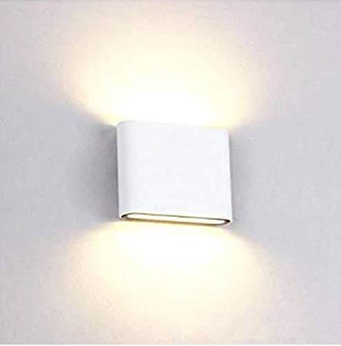 Blanco 6W Blanco Luz Blanco C/álido Glighone Apliques de Pared LED 6W L/ámpara Moderna Impermeable IP65 Luz de Puro Aluminio para Decoraci/ón del Hogar Entrada Interior Exterior