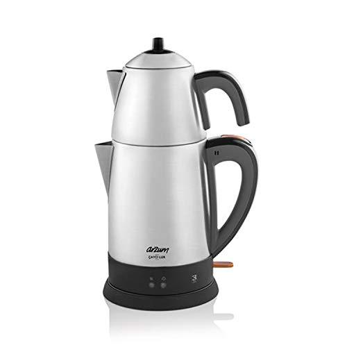 Arzum Cayci Lux Elektrische Hochwertige Edelstahl Teemaschine Teekocher Wasserkocher, Farbe:Silber
