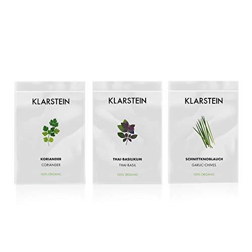 KLARSTEIN GrowIt Seeds Asia - 3 Semillas: Cilantro, albahaca tailandesa, cebollino ajo, Accesorio jardín Inteligente de Cocina