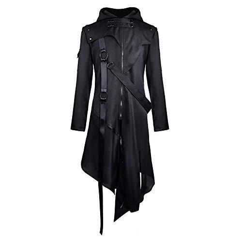 EZSTAX Veste Steampunk Manteau Médiéval avec Capuche Costume Vintage pour Hommes Déguisement Fête Halloween Carnaval