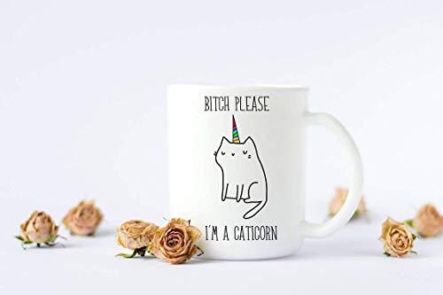 N / A Kaffeetasse Caticorn Tasse Lustige Tasse Benutzerdefinierte Tasse Mutter Mutter Leben Kaffee Kaffeetasse Latte Bester Freund Geschenk Weiß BFF Strumpf Stuffer Geburtstag Keramik Tasse