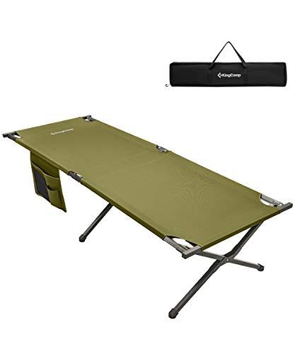 KingCamp 幅を広く コット アウトドア ベッド キャンプ こっと 折りたたみ 簡易 コット コンパクト レジャー 収納袋付き グリーン