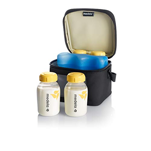 Medela Breast Milk Cooler and Transport Set, 5 ounce Bottles with Lids, Contoured Ice Pack, Cooler Carrier Bag (Baby Product)