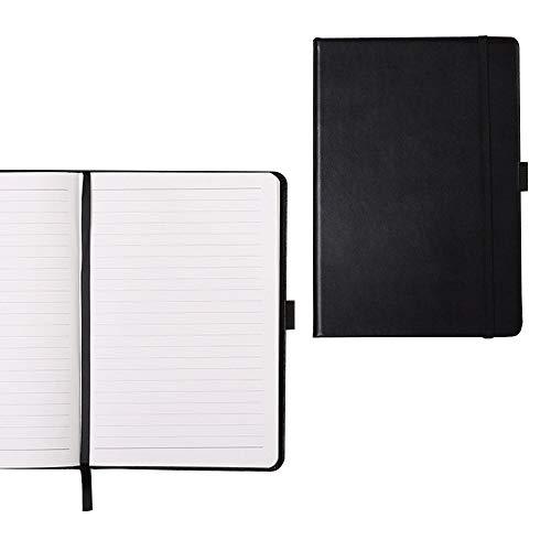 CARSEND 2冊セット a5 ノート メモ ノートブック a5 手帳 ノート メモ帳 ビジネス 仕事 勉強 日常用 合皮カバー A5 サイズ 210×143mm 横罫 ポケット付き 黒