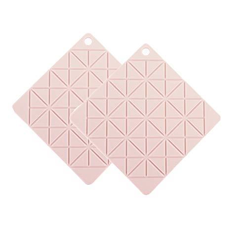2 Stks Siliconen Pot Mat, Siliconen Hot Pads Warmte Isolatie Tafelmatten voor Familie Multifunctionele Antislip Hot Pads Driewieler Square roze