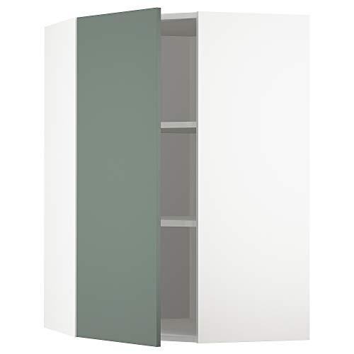 METOD armario esquinero de pared con estantes 67,5 x 67,5 x 100 cm blanco/Bodarp gris-verde