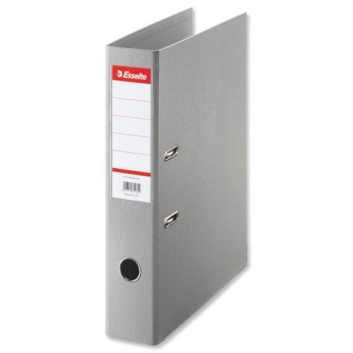 ESSELTE 48088 - Archivador de palanca plástico forrado Nº1 con rado, ojete y cantonera Folio. Lomo 75 mm color gris