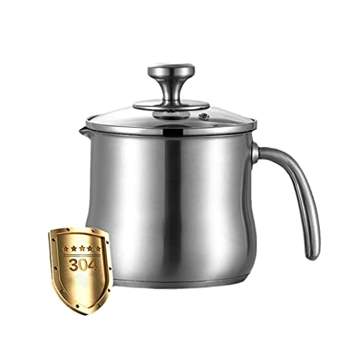 KLLKR Stainless Steel Milk Pot With Pour Spout, Saucepan with Lid, No Coating Reinforced stainless-steel handle for Boiling Milk, Sauce, Gravies