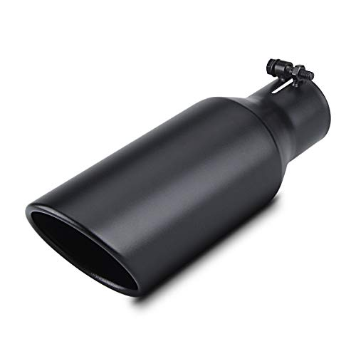 """2.5 Inch Inlet Exhaust Tip 2.5"""" x 4"""" x 12"""" Black Exhaust Tailpipe With Blot-On Design, Universal for Car"""