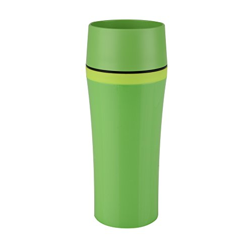 Emsa 514177 thermosbeker, onderweg genieten, 360 ml, Quick Press-sluiting, donkergroen/groen, Travel Mug Fun