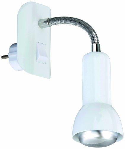 Steckerleuchte, Steckerlampe, Steckerspot, E14, 25 Watt, Flexarm, weiß
