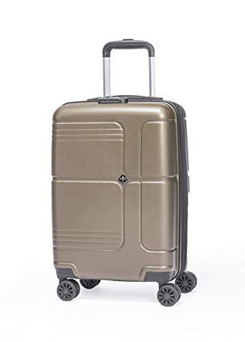 LYS - Valise Cabine Extensible Trolley 55x35x20 cm Plus 7 cm souflet Ultra léger 4 Roues doublées ABS Rigide Bagage à Main pour Ryanair, Easyjet, Lufthansa etc (Bronze)