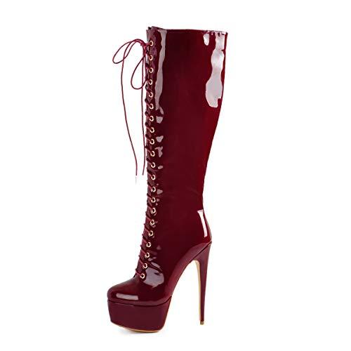 Only maker Botas de mujer con plataforma, botas altas con tacón de Stiletto hasta la rodilla, bicolor, color Rojo, talla 44 EU