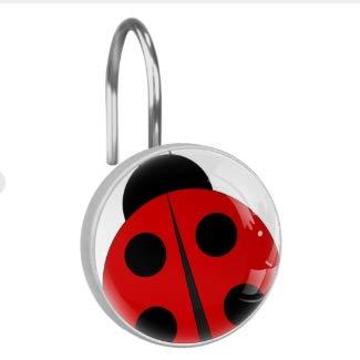 Lagerery Ladybug Shower Curtain Hooks Rings Rustproof Stainless Steel Bathroom Shower Rod Decoration Set of 12