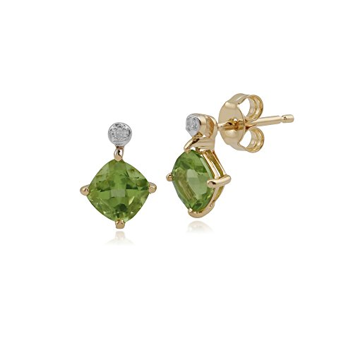 Gemondo Peridot Ohrringe, 9ct Gelb Gold 1,26ct Peridot & Diamant Ohrstecker
