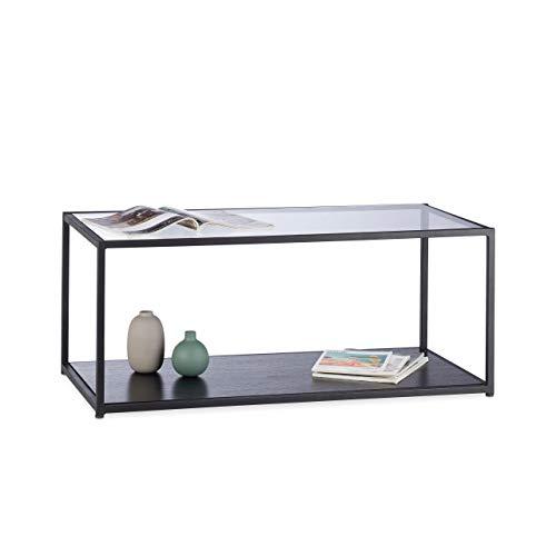 Relaxdays, Negro, 42 x 100 x 50 cm Mesa Centro de Cristal Rectangular para Salón y Comedor, Vidrio, Metal y DM 🔥