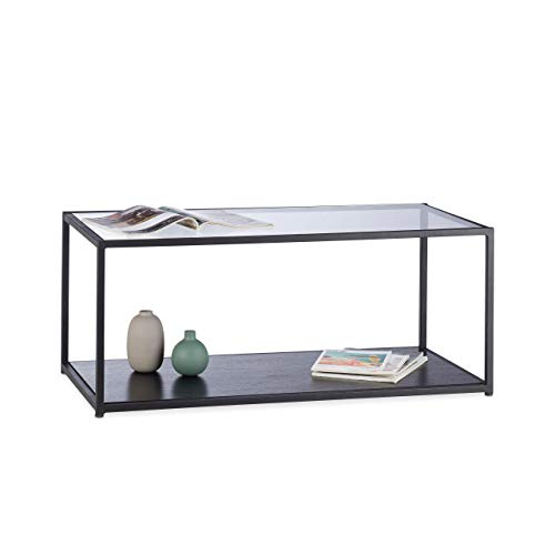 Relaxdays, Negro, 42 x 100 x 50 cm Mesa Centro de Cristal Rectangular para Salón y Comedor, Vidrio, Metal y DM