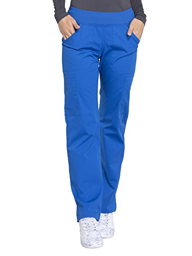 Cherokee Workwear Professionals Mid Rise Straight Leg Pull-on Cargo Scrub Pant, S, Royal