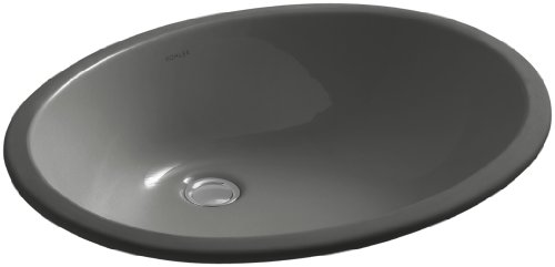 Kohler K-2211-58 Vitreous china Wall Mounted Oval Bathroom Sink, 24 x 20.76 x 10 inches, Thunder Gray