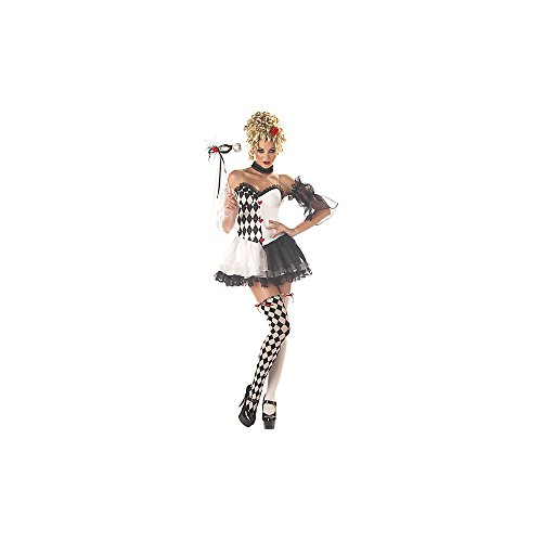 Le Belle Harlequin Jester Ladies Fancy Dress Halloween Costume + Mask UK 6-14 (Women : 10-12) (déguisement)