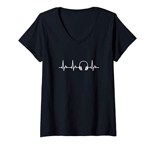 Mujer Cascos DJ Mi Corazón Late por la Música Camiseta Cuello V